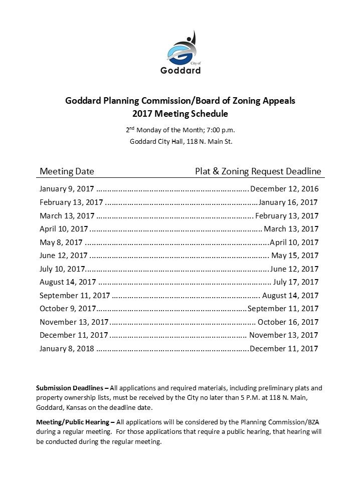 2017 Goddard Planning Commission Meeting Schedule