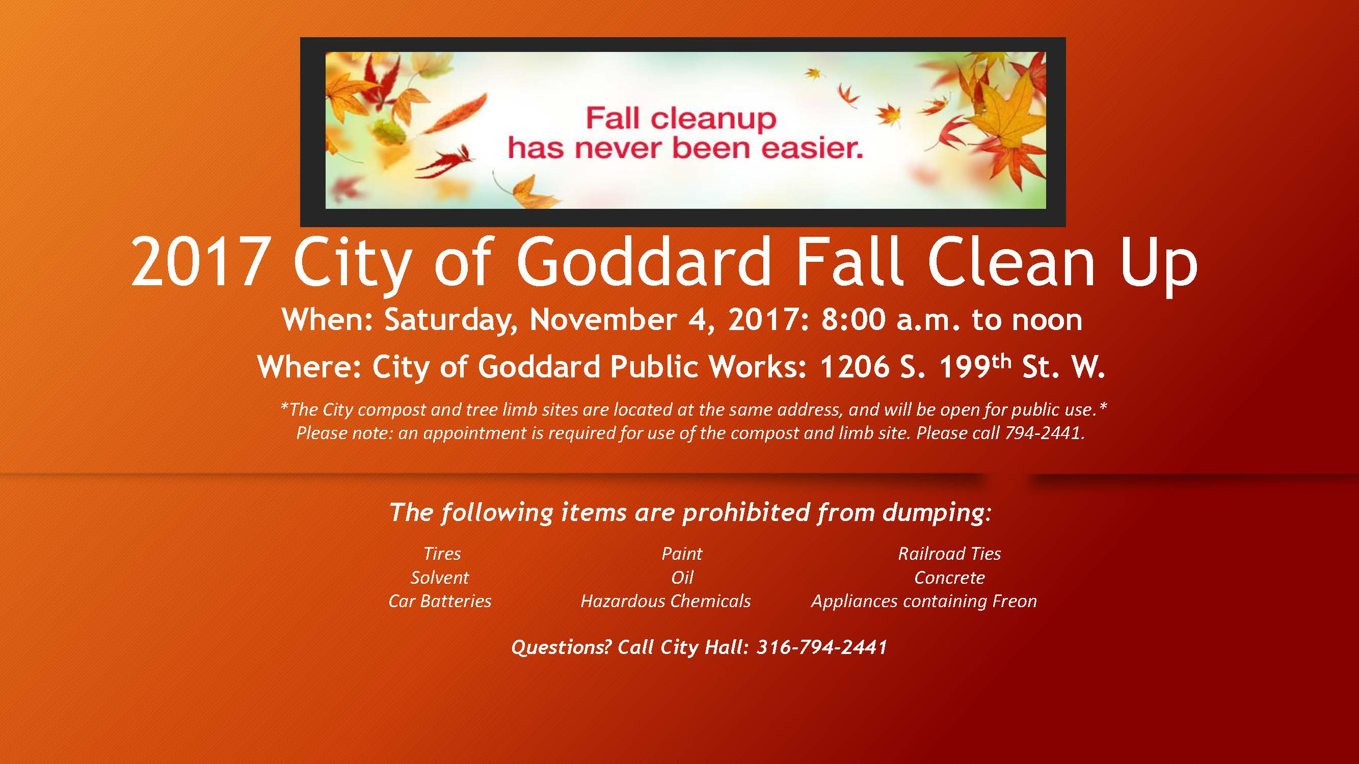 2017 City of Goddard Fall Clean Up Flyer