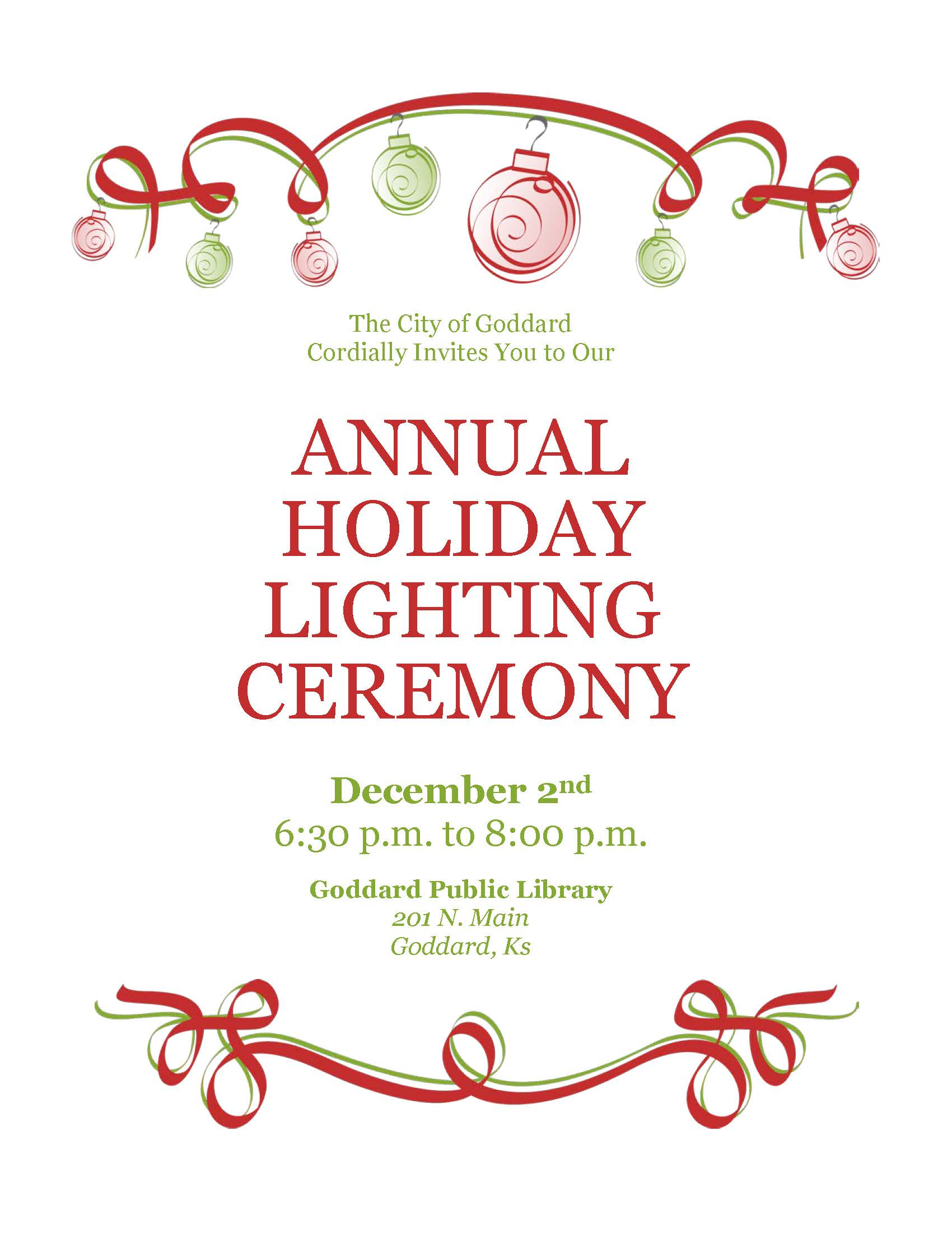 City Tree Lighting Flyer 2017